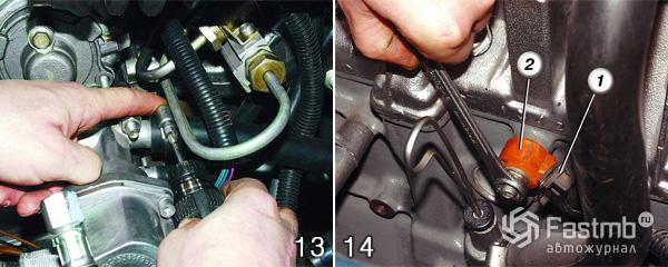 Снятие двигателя ВАЗ 2110 шаг 13-14