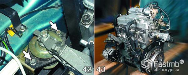 Снятие двигателя ВАЗ 2110 шаг 42-43