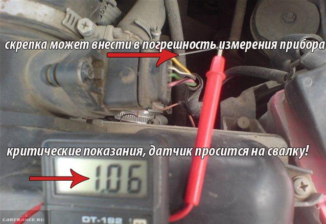 Замер напряжения датчика ДМРВ на ВАЗ-2112 16 клапанов
