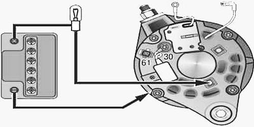 Как проверить диодный мост генератора Ваз 2110 при помощи лампочки шаг 2