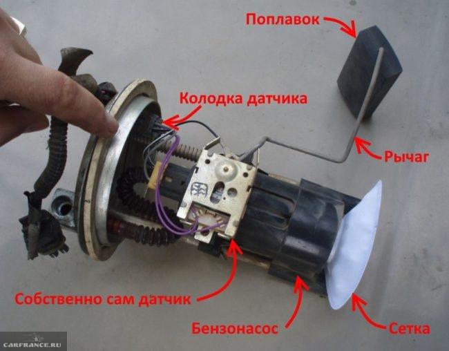 Основные части топливного насоса от автомобиля ВАЗ-2110